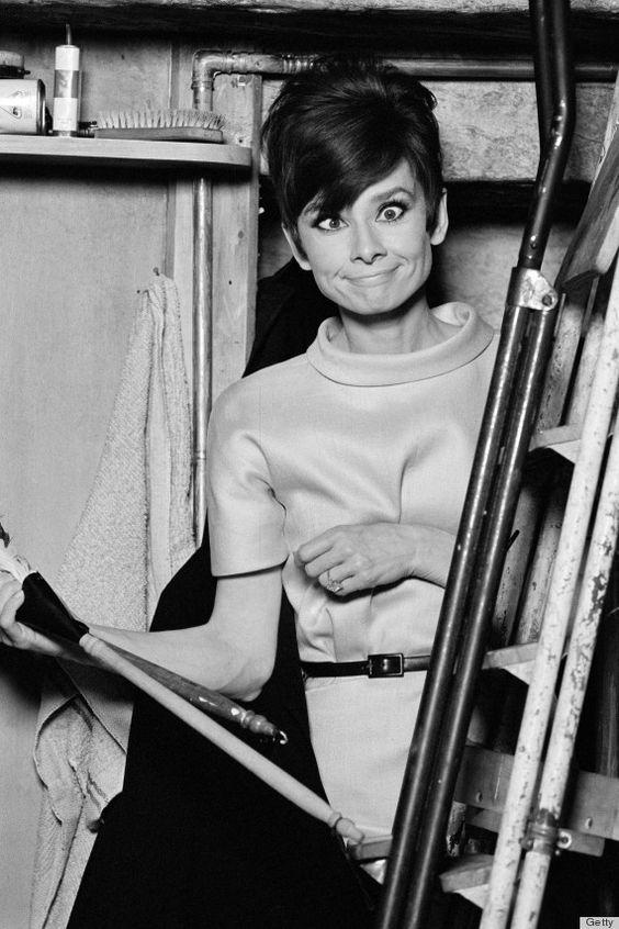 Audrey Hepburn pulls a funny face